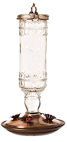 Perky-Pet 8107-2 Antique Bottle 10-Ounce Glass Hummingbird Feeder, Clear