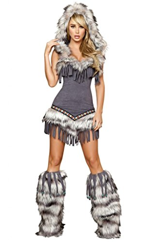 Eskimo Woman Halloween Costume (Sexy Faux Fur And Fringe Indian Girl Halloween Costume)