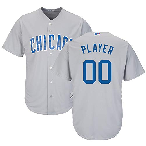 Men's_Chicago_Cubs_Gray Road Cool Base Custom Jersey (2XL)