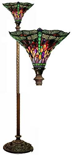 Warehouse of Tiffany Tiffany-style Dragonfly Red & Purple Torchiere, new ()