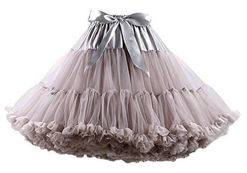 FOLOBE Women's Soft Puffy Tulle Petticoat Costume Ballet Dance Short Tutu Skirts Multi-layer ,Medium / Large,Gray