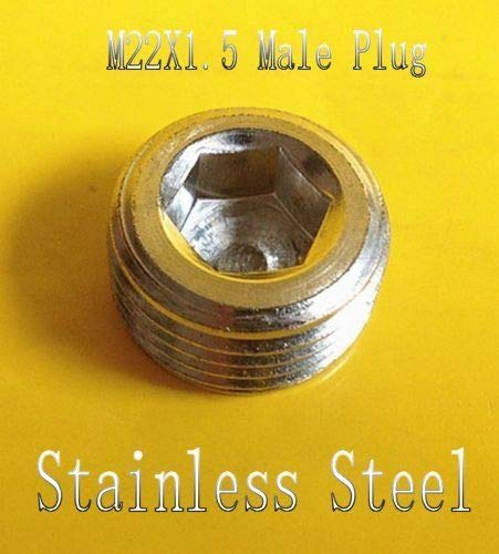 (Metric M22 x 1.5 M22X1.5 Male Thread Allen Socket Head Plug Stainless Steel)