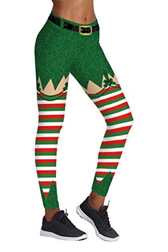 COCOLEGGINGS Womens Striped Workout Leggings Christmas Elf Costume
