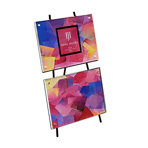Isaac Jacobs Magnetic Acrylic Metal Easel Frame, Holds 2 4x6 photos (Horizontal, - Frame Isaac