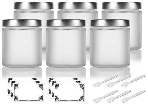 Frosted Clear Glass Straight Sided Jar with Silver Metal Airtight Lid - 4 oz / 120 ml (6 pack) + Spatulas and Labels