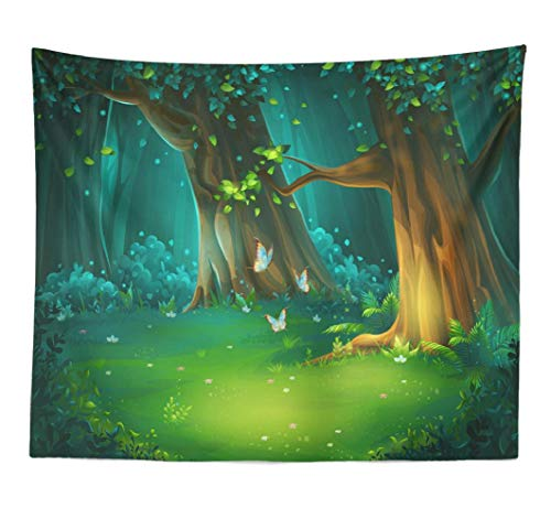 LILYMUA Forest Landscape Tapestry Wall Hanging, Cartoon Forest Bright Wood with Butterflies Game and Mobile Home Decorations Wall Tapestry for Bedroom Living Room Decor Bedspread 60L x80W ()