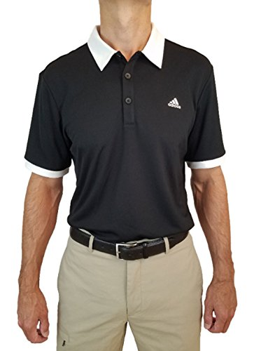adidas Men's Golf Pique Polo Shirt (Black, (Contrast Collar Pique Polo Shirt)