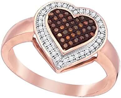 10K Rose Gold Dark Brandy Diamond Chocolate Brown Halo Heart Fine Design Ring 1/5 Ctw.