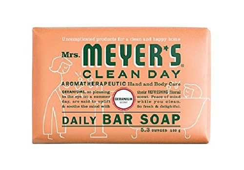 Mrs. Meyers Bar Soap Hard 5.3 Oz Geranium Scent, Pack of 12