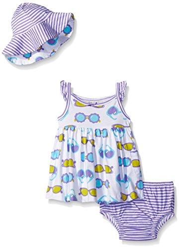 Gerber Baby Three-Piece Sundress, Diaper Cover and Hat Set, Sunglasses, 18 - Clothing Sunglasses