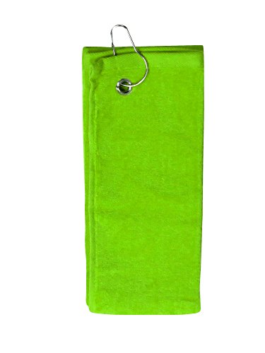 Simplicity 100% Cotton Terry Golf Towel w/Grommet Hook Side Hook_Lime Green