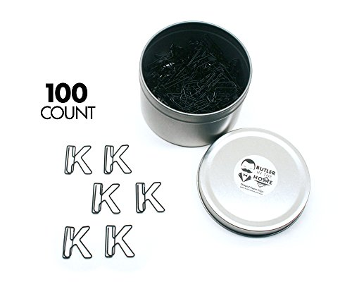 (Butler in the Home Pick Your Favorite A-Z Alphabet Letter or 0-9 Number - 100 Count Black Colored Paper Clips for Initials or Birthdate - Comes in Round Tin with)