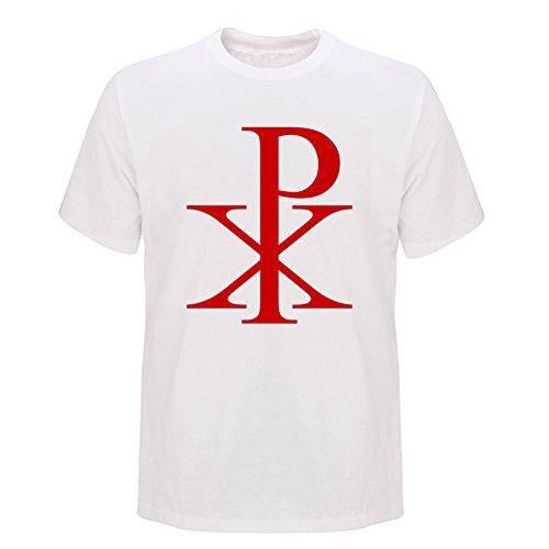 Chi Rho Christian Symbol Adult Round Collar White Mens T Shirts M