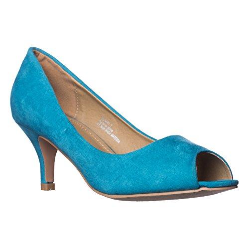 Riverberry Women's Lydia Open, Peep Toe Kitten Heel Pumps, Turquoise Suede, 8 (Suede Pumps Toe Peep Platform)