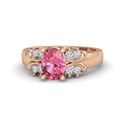 Oval Pink Tourmaline 14K Rose Gold Engagement Ring â€