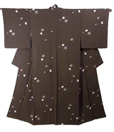 リサイクル 着物 小紋 絞り風鹿の子模様 正絹 袷 裄64.5cm 身丈151cm