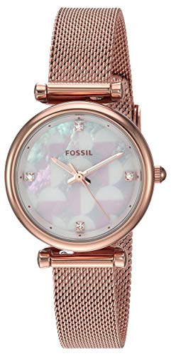 Fossil Women Mini Carlie Quartz Stainless Steel and Mesh Casual Watch Color: Rose gold, Silver (Model: ES4566) - Fossil White Mother Of Pearl