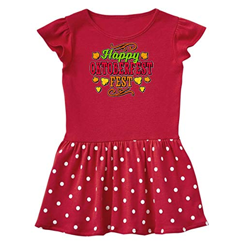 (inktastic - Happy Oktober Fest with Toddler Dress 5/6 Red with Polka Dots)