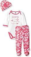 "Gerber Childrenswear ""Favorite Team"" Bodysuit, Pant & Cap Set,New Orleans Saints, 0-3 Months, Pink"