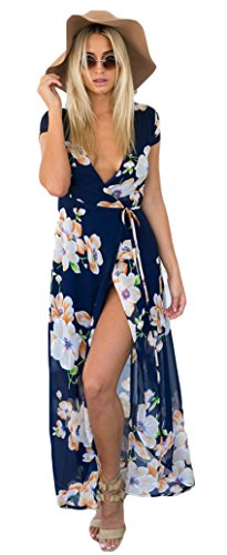 Vici Womens Bohemian Floral Print Side Slit Long Maxi Dresses For Beach Size S