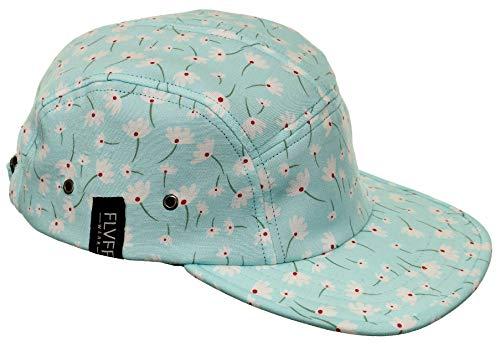 FLVFF 5 Panel Hat for Men Flat Brim Baseball Cap Urban Street Camper Hats (Floral 25, Challis) ()