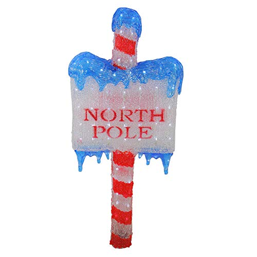Northlight Lighted Commercial Grade Acrylic North Pole Christmas Sign Display Decoration, 33