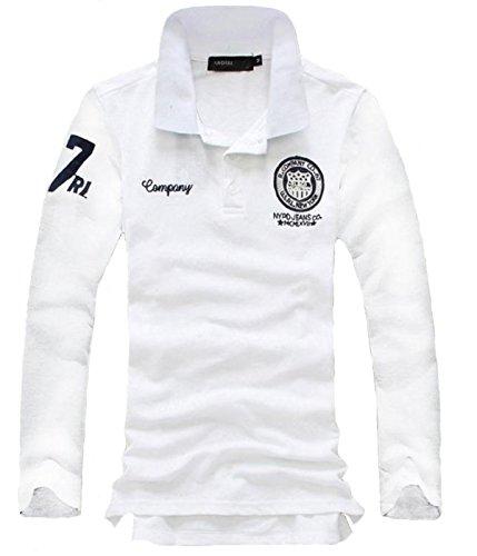 Bekoo(ベクー) メンズ ポロシャツ 長袖 シンプル ワンポイント ワッペン 刺繍 付き ゴルフウェア
