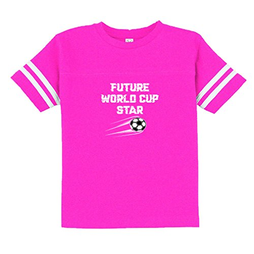 Future World Cup Star Soccer 60/40 Cotton/Polyester Contrasting Stripes Ribbed Collar Unisex Toddler Sports T-Shirt Football Jersey - Hot Pink, 3T