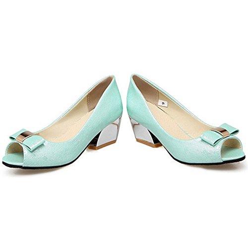 ed5e3f9e TAOFFEN Mujer Moda Peep Toe Sandalias Tacon Ancho Tacon Medio Sin Cordones  Zapatos De Bowknot Azul ...