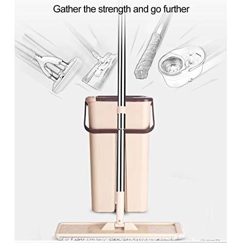 (Miklan Scratch Mop Bucket Rotating Hand Pressure Microfiber Spin Mop, Bucket Free Hand Wash Mop,Bucket Floor Cleaning System - Beige)