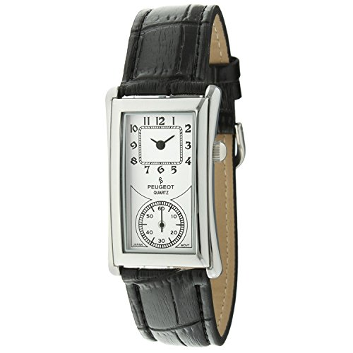Peugeot Vintage Unisex Silver Contoured Dial Black Leather Band Doctors Nurse Watch ()