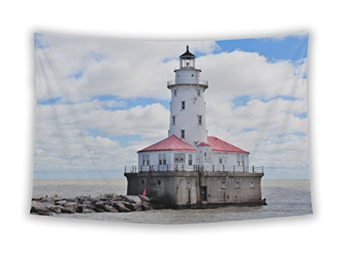 Gear New Wall Tapestry For Bedroom Hanging Art Decor College Dorm Bohemian, Navy Pier Light House Chicago Lake Michigan Cloud Blue Sky, - City Light House Michigan