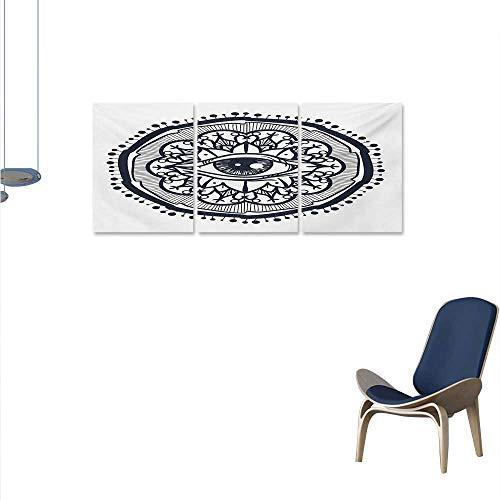 WinfreyDecor Occult Canvas Print Wall Art Realistic Retro Eye Pattern in Round Eastern Mandala Form Micro Cosmos Design Print Aall Art Stickers 16