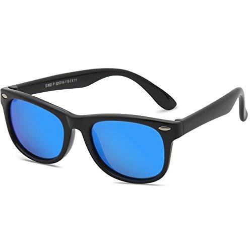 SojoS Kids Flexible Rubber Kids Polarized Wayfarer Sunglasses Age 3 to 12 SK205 With Black Frame/Blue Mirrored - Mirrored Sunglasses Kids