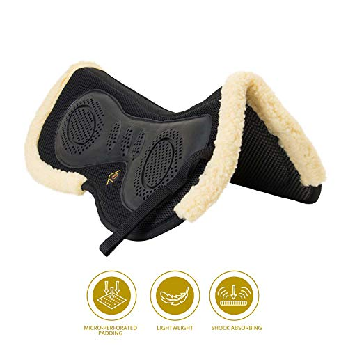 (Kavallerie 3D Air-Mesh Fleece, Shock-Absorbing Fleece-Lined Half pad with Therapeutic Gel Padding for Maximum Support, Best for Dressage, Jumping, Riding, Training, Eventing, Showing- Black)