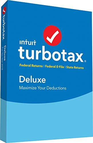 Software : TurboTax Deluxe + State 2018 Tax Software [PC/Mac Disc] [Amazon Exclusive]