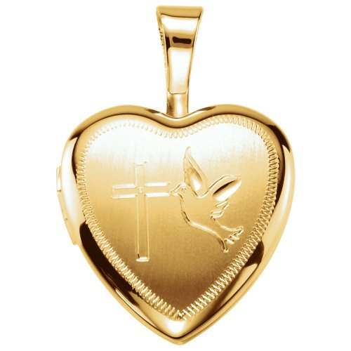 Cross Design Heart Locket (Gold Plated & Sterling Silver Cross/Dove Heart Locket)