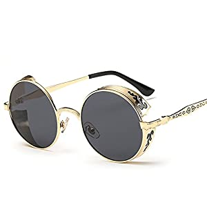 Steampunk Women Men Brand Metal Carving Punk Mirror Gothic Sun Glasses Driving Men,Golden W gray