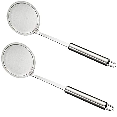 Teerfu per friggitrice di grasso profondo mestolo a rete utensile da cucina per pentole calde friggitrici di grasso 2 pezzi Silver Cucchiaio con filtro in acciaio inox colino filtro per olio