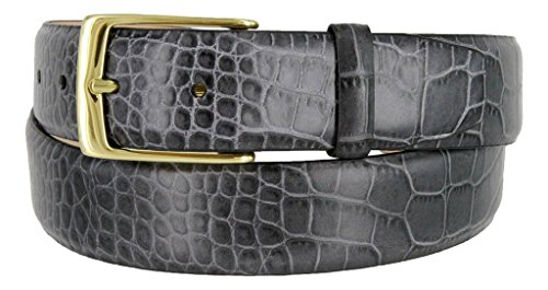 Joseph Gold Buckle Italian Leather Alligator Embossed Designer Dress Belt (Gray, 40)