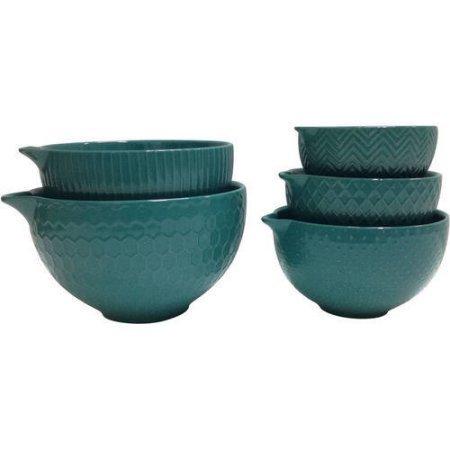 Texture Mixing Bowl, Set of 5 Teal