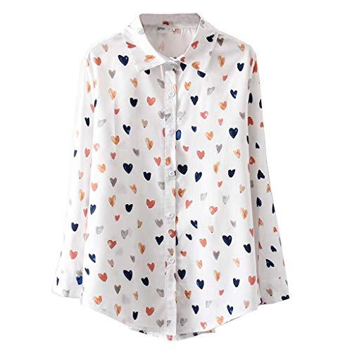 Effulow Shirts Women's Trend Spring 2019 Long-Sleeved Loose Shirt Korean White Love Print Chiffon Shirt
