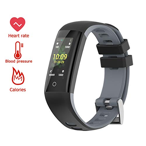 Touchpad Wristband Smart Tracking Watch with Heart Rate,IP67 Waterproof,Sleep Monitor,Color Screen Fit Tracker for Women Men (Gray) ()