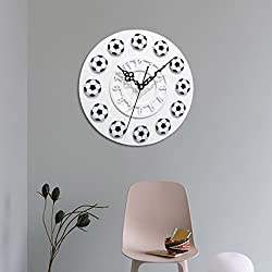 YJYDADA Clock, Football Style Non-ticking Acrylic Wall Clock Home Kitchen Office (White)