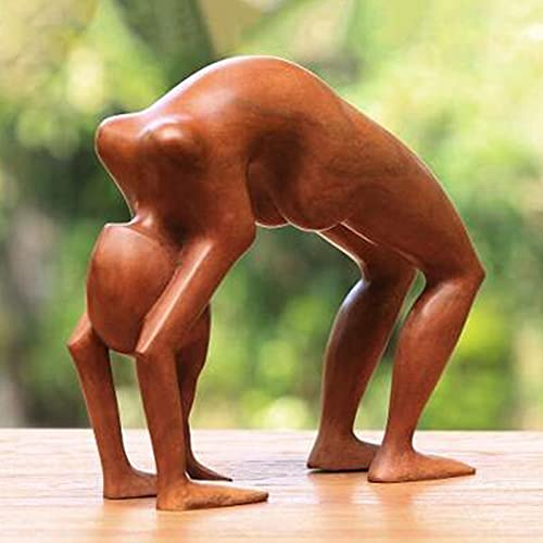 Yoga Wood Carving Decoration Yoga Handmade Meditation Hand Carved Human Figure Sculpture for Desk, Room, Gift (Style A)