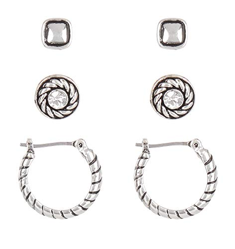 Napier Silver Tone Stud & Hoop Trio Earring Set One Size - Trio Hoop Earrings Set