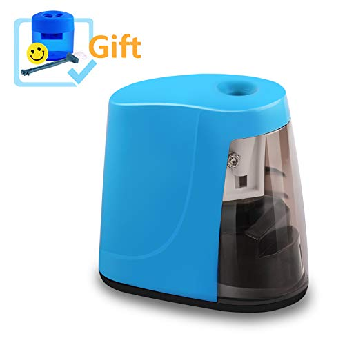 - Electric Pencil Sharpener, Elimoons Colored Pencil Sharpener with Cover for Kids, Teachers, Artists, Value pack-Includes 2 Hole hand Manual Pencil Sharpener, Eraser(Blue)