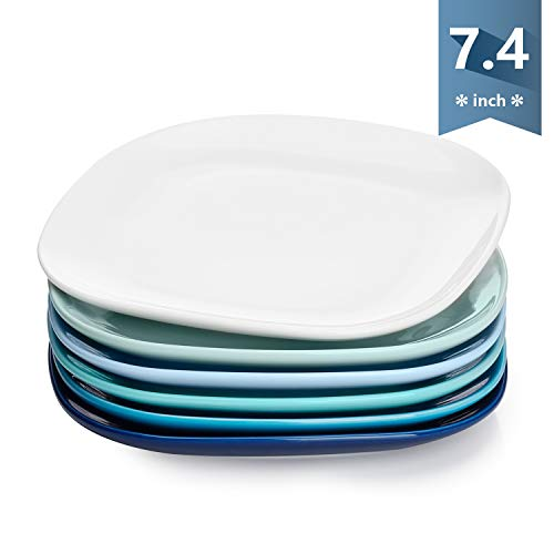 Sweese 153.003 Porcelain Square Dessert Salad Plates - 7.4 Inch - Set of 6, Cold Assorted Colors