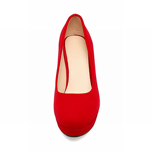 Mee Shoes Women's Sexy Slip On Block Heel Court Shoes Red bs7q9