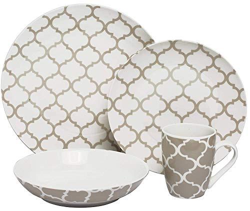 - Melange Coupe 16 Piece Porcelain Dinner Set (Grey Impressions)| Service for 4 | Microwave, Dishwasher & Oven Safe | Dinner Plate, Salad Plate, Soup Bowl & Mug (4 Each)